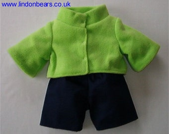 New Lindonbear fleece jackets lined with trousers - fits teddy bears 16 inch / 40cm tall- Made in England
