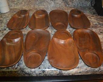 Eight Mid Century Wood Decor Tray Dish Appetizer Platter Wood Appetizer Dish Wood Tray