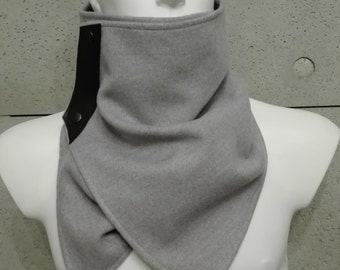 mens scarf, scarf with snaps, winter scarf, neckwarmer scarf ,mens neckwarmer, mens cowl, mens grey scarf, mens grey cowl, grey neckwarmer