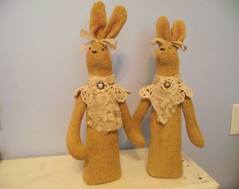 Handmade terry cloth bunny