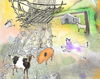 Farm art rural print Animals Custom home decor wall art Decorative art Contemporary Collage Digital animals  Cultivating the Garden