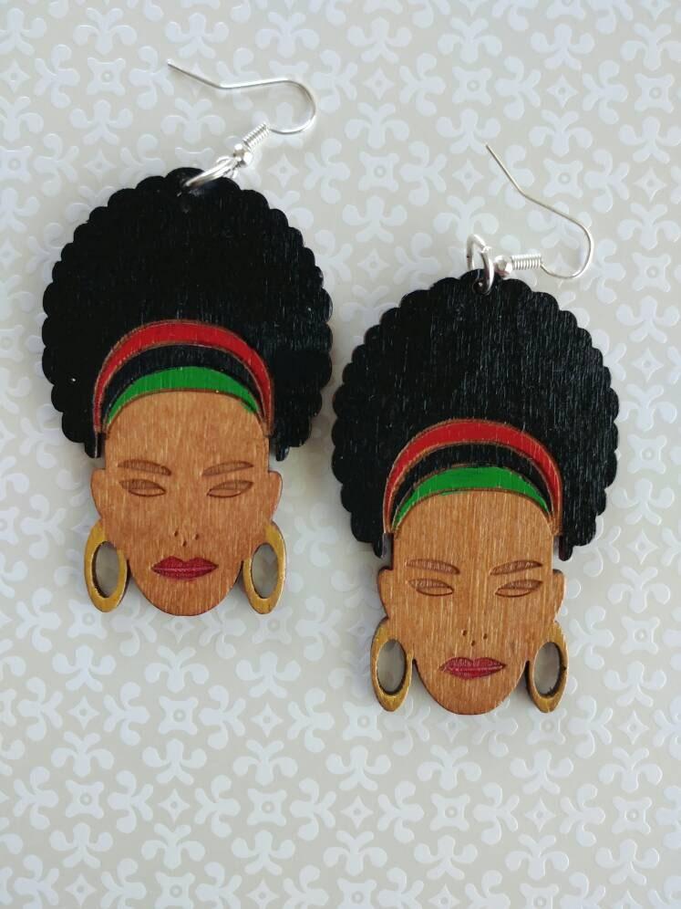 WOOD AFRO Earrings Red Black Green Jewelry Hand painted custom