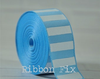 """2 yards 7/8"""" Baby Blue with White Vertical Stripe Grosgrain Ribbon - Bold Stripes - Wedding - Baby - Home Decor - Dog Collar Leash - Sewing"""
