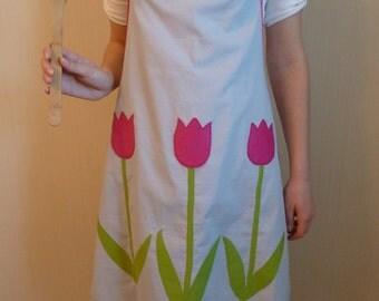 Blue Apron Tulip Applique Original Gift Bright Flowers Full Apron Gift for her Handmade Gift Kitchen Apron Womens Apron Cotton Apron