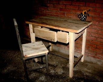 Three-drawer Desk and matching chair