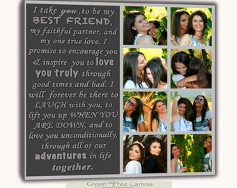 Best friends Collage,Personalized Pictures Gift,Words Text Quote Sayings,Collage with words,Gallery Wrapped Canvas ready to hang on the wall