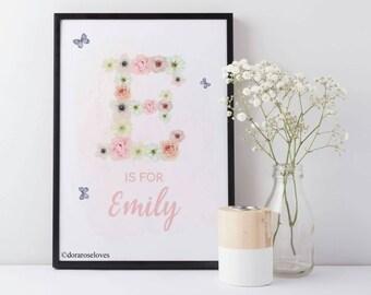 Floral Initial Print - Personalised Floral Name Print