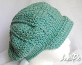 Crocheted Newsboy Cap (Tam, Beret, Slouch Hat) with Brim - Teal (Mint Green, Turquoise)