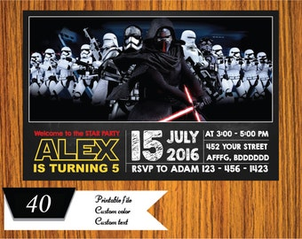 Star Wars Invitation, Star Wars Birthday Invitation, Star Wars Movie Invitation, Star Wars Birthday - FREE card THANK YOU | M40