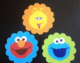 Lot of 45 Sesame Street Elmo Cookie Monster Big Bird Treat Tags Thank You Tags
