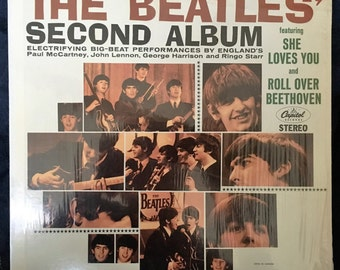"The Beatles Record ,""SECOND ALBUM""1964 - She loves you, Vintage Beatles Lp Vinyl, original vinyl record,Vintage Vinyl Record Album"