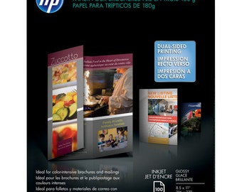 """HP C7020A Tri-Fold Brochure Paper (2-Sided, Gloss) for Inkjet 8.5x11"""" (Letter) - 100 Sheets"""