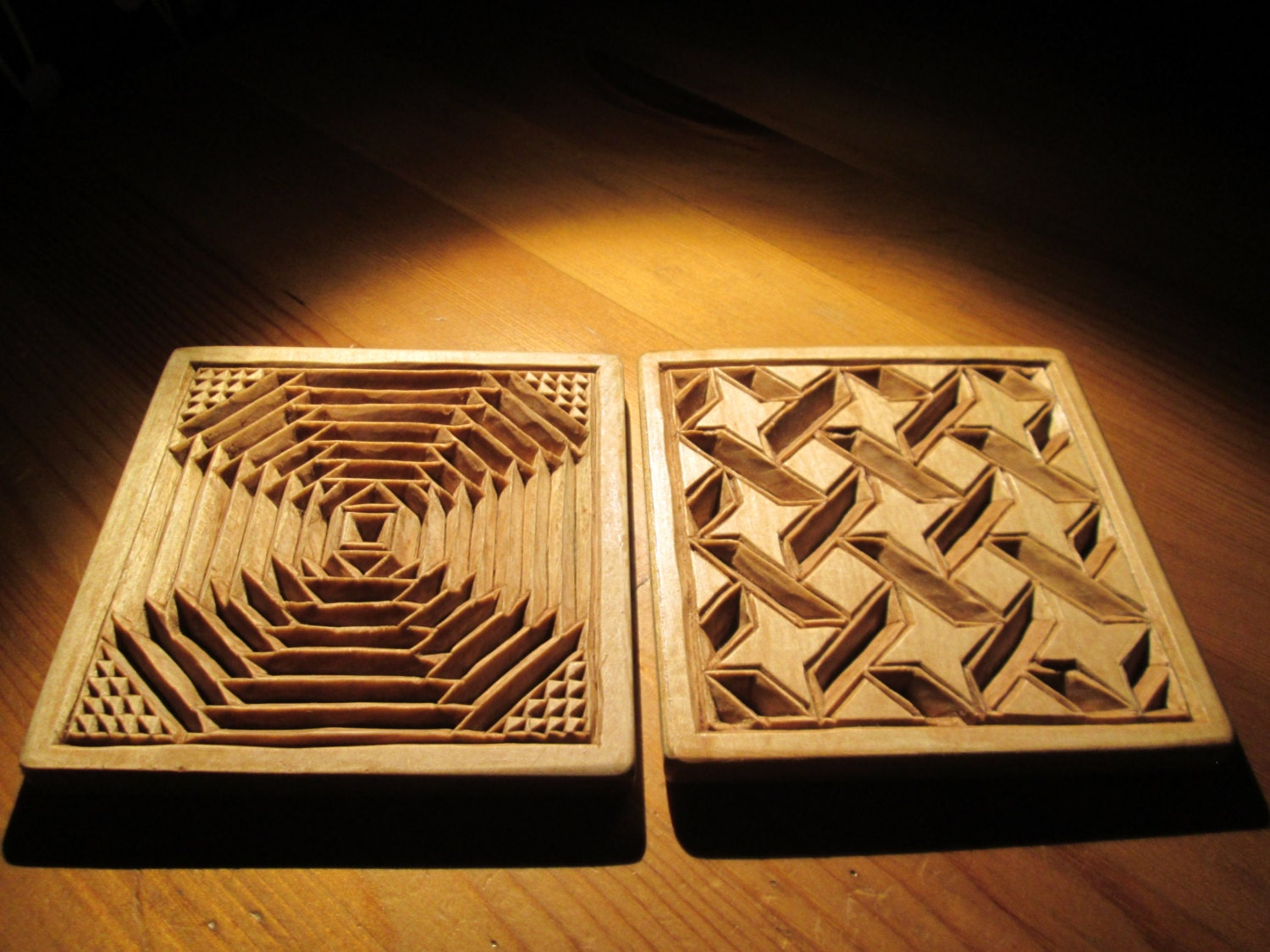Two wooden mug coasters chip carving wood