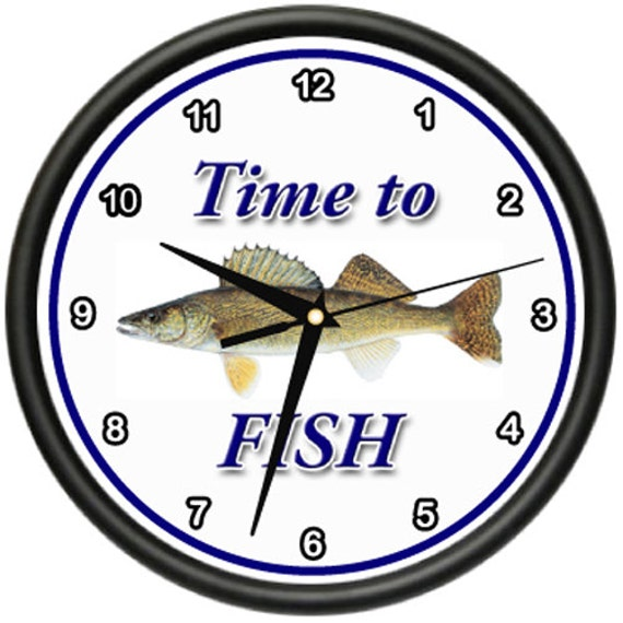 Time to fish walleye wall clock fisher fisherman boat fish for Best time to fish for walleye