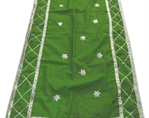 FREE SHIPPING Vintage Dupatta Indian Bridal Scarf Gota Patti Work Craft Traditional Fabric Art Silk Dress Green Veil Stole Hijab SD2265