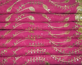 Vintage Pink Georgette Dupatta Wrap Dress Embroidered Scarf Hijab Indian Recycled Fabric Decor Long Veil Stole Scarves SD2420