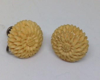 Vintage Carved Celluloid Earrings