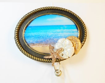 Beach Scene Badge Holder