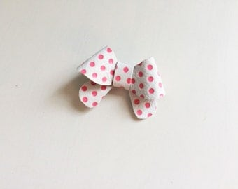 """Pink and white polka dot leather """"Helen"""" bow - small - headband - alligator clip"""