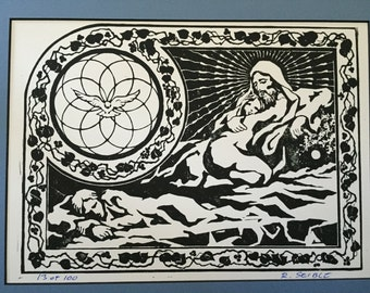 """She Dreams of Jesus - 9""""12"""" Print with 12""""x16"""" mat."""