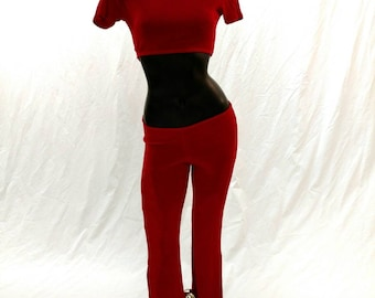 Pant Set, red slinky fabric, perfect for a holiday party
