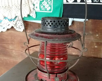 Antique-vintage red glass railroad lantern