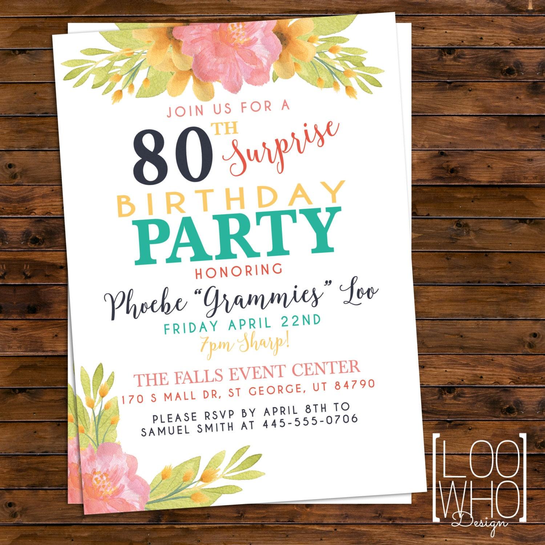 surprise birthday invitation printable 80th birthday