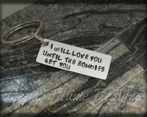 personalised keyring - gift for her - gift for him- zombie keyring - friend gift - zombie gift - zombie fan gift - walking dead fan gift