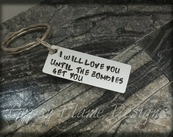 personalised keyring gift for her gift for him zombie keyring friend gift  zombie gift zombie fan gift