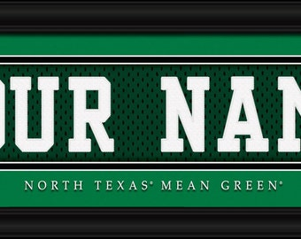 North Texas Mean Green NCAA Framed Personalized Jersey Nameplate College Sports  Home Decor 22x6 Inches Free Shipping