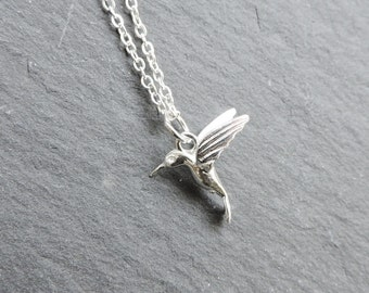Silver hummingbird charm necklace - Sterling silver 3D exotic flying bird charm pendant, kingfisher, wing pendant