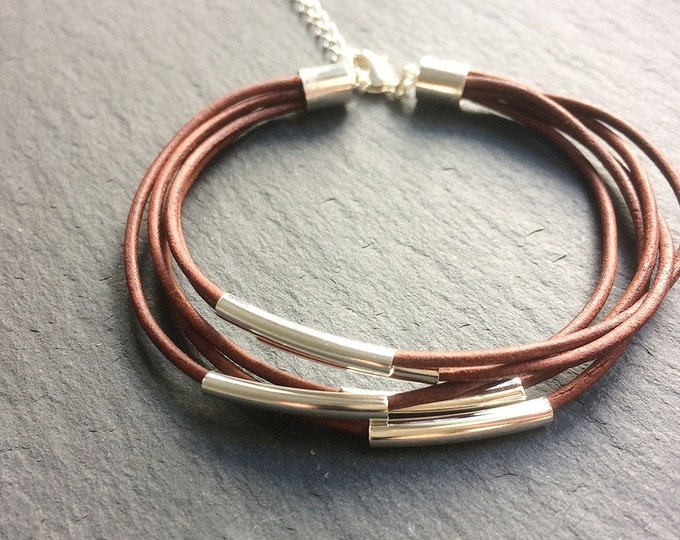 Featured listing image: Brown Leather & Silver Multi-strand Bracelet - Brown leather cord strand bead wrap bracelet with silver tube bar detail