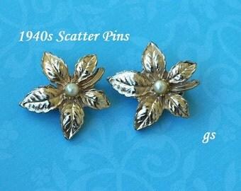 Vintage Scatter Pins, Gold Tone, Flower Scatter Pins, Gold Scatter Pins, Vintage Duo Pins, Small Brooch, Gold Flower Brooch, GS697