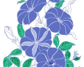 Printable Purple Petunia Flowers  Note Card