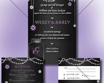 "Wedding Invitation/RSVP/Reception Card ""Lavender Lights"""