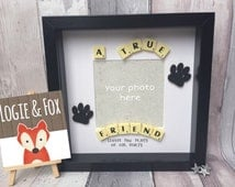 A True Friend Leaves Paw Prints on our Hearts Handmade Scrabble Frame Pet Cat Dog Memorial Gift Present Can be Personalised