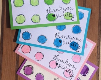 4 Thank You Watercolor Cards