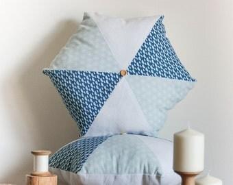 Hexagonal decorative cushion blue, green and white - Hexagon cushion