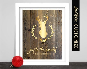 Christmas Deer Print - Joy to the World