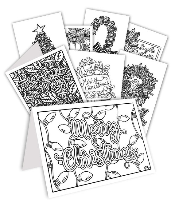 christmas greeting cards coloring pages | DIY Coloring Christmas Cards Set of 20 read-to-fold