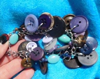 Purple/Turquoise/Brown Vintage Button Bracelet