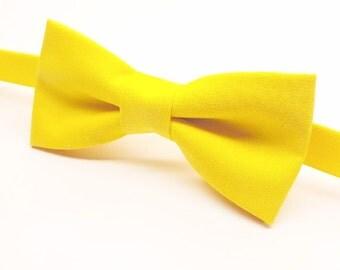 Yellow Bow tie, Bright Yellow Bow tie, Men's Yellow Bow tie, Yellow Bow tie for Kids, Yellow Baby Bow tie, Lemon Bow tie, Pre-tied Yellow