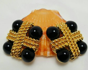 CARLISLE Black Glass Earrings
