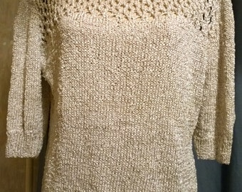 hand-knitted lurex gold sweater