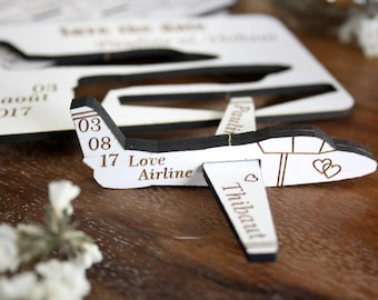 Save the Date (20 ) little plane shaped to send to the guests for travel theme wedding save the date card invitation wood laser cutting