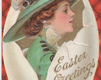 antique embossed easter postcard beautiful woman in broken egg posted 1913