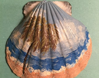 Beach Scene Scallop Shell