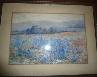 Southern France very old Watercolour Lavender Charles E. Luton Gallery