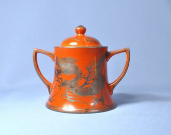 Vintage Japanese iron red eiraku silver dragon sugar pot Meiji Period DSC_00383
