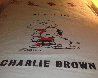 Vintage Thin Twin Size I Love You Charlie Brown Blanket